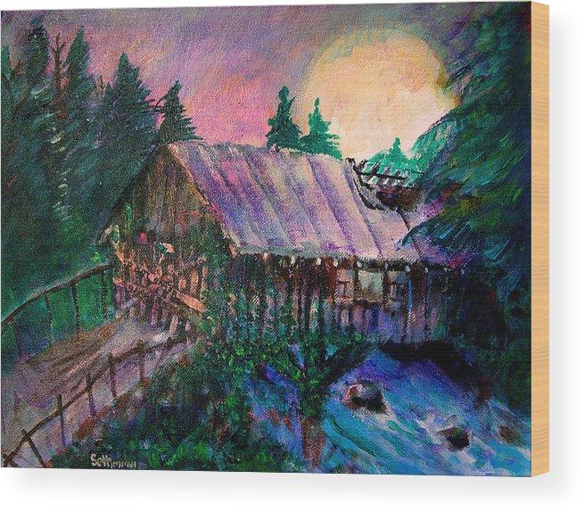 Dangerous Bridge Wood Print featuring the painting Dangerous Bridge by Seth Weaver