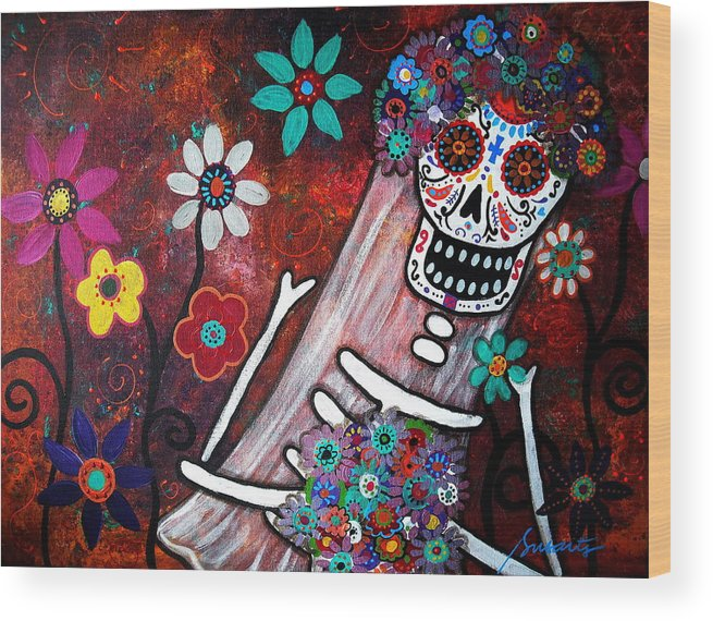 Day Of The Dead Wood Print featuring the painting Desposada II by Pristine Cartera Turkus