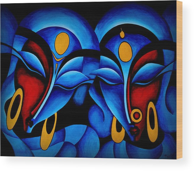 Divine Love Wood Print featuring the painting Divine Love by Bijna Balan
