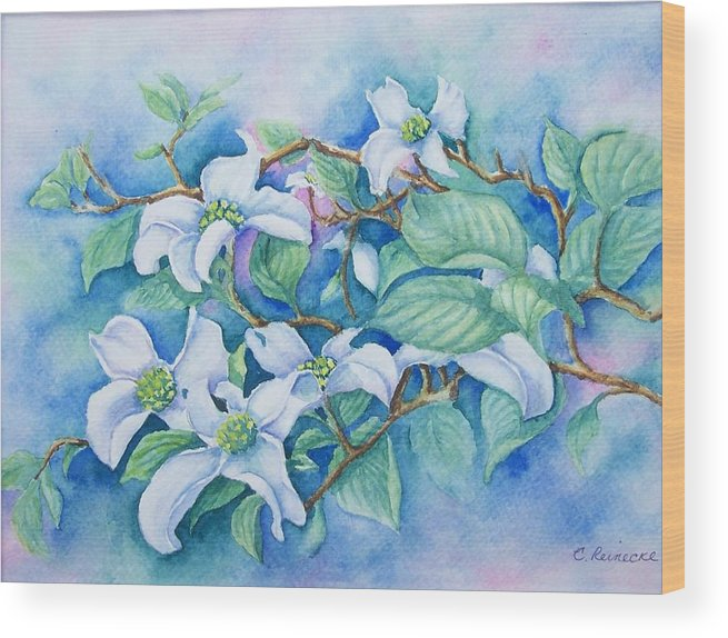 Floral Wood Print featuring the painting Dogwood by Conni Reinecke