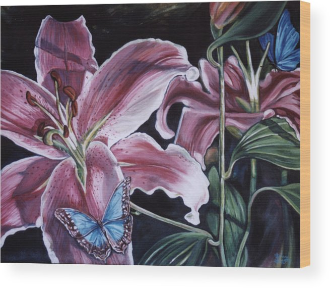 Floral Wood Print featuring the painting Donna's Flowers by Diann Baggett
