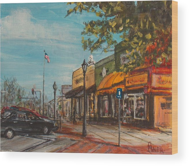 Cityscape Wood Print featuring the painting Downtown by Pete Maier