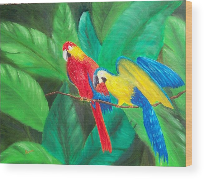 Birds Wood Print featuring the painting Duo by Sandy Hemmer