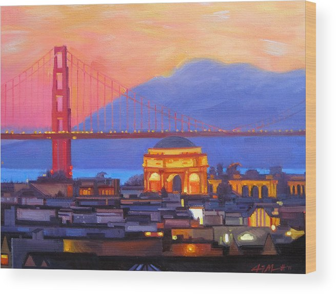 California Paintings Wood Print featuring the painting Dusky Rose by Aaron Memmott