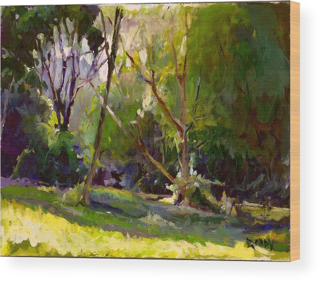 Landscape Wood Print featuring the painting Early Summer Morning by Stuart Roddy