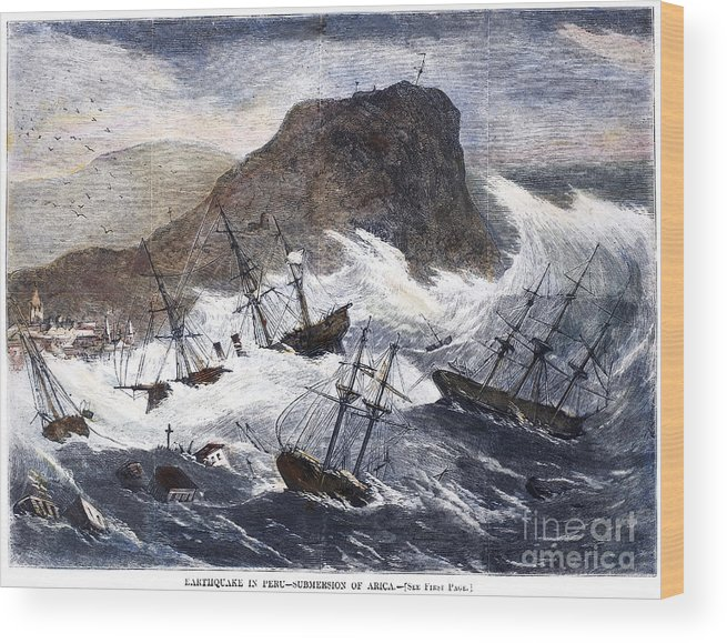 1868 Wood Print featuring the photograph Earthquake And Tidal Wave by Granger