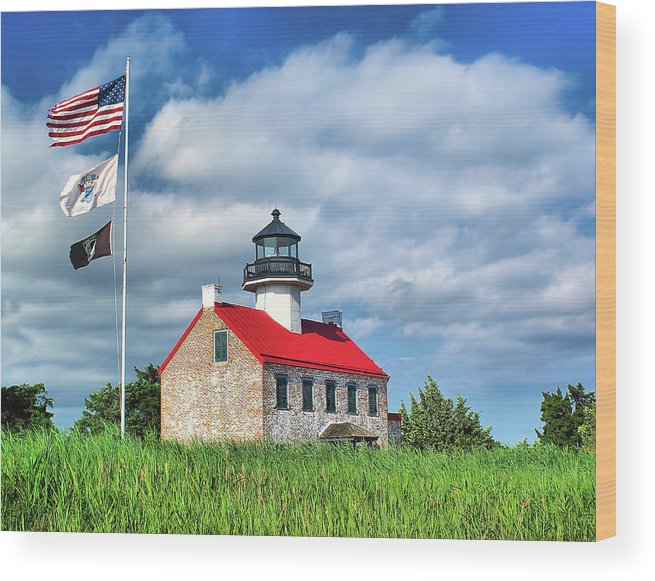 Bay Wood Print featuring the photograph East Point Lighthouse Nj by Nick Zelinsky