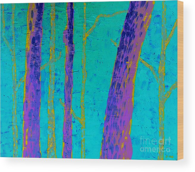 Wood Wood Print featuring the painting Enchanted Wood by Jolene Courtemanche