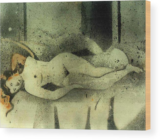 I Call It As Photo Painting.this Is Neither A Painting Nor A Photograph.this Is A Out Come Of My Experimentation Over A Decade With Photochemicals. Wood Print featuring the painting Erotic Mood by Anand Swaroop Manchiraju