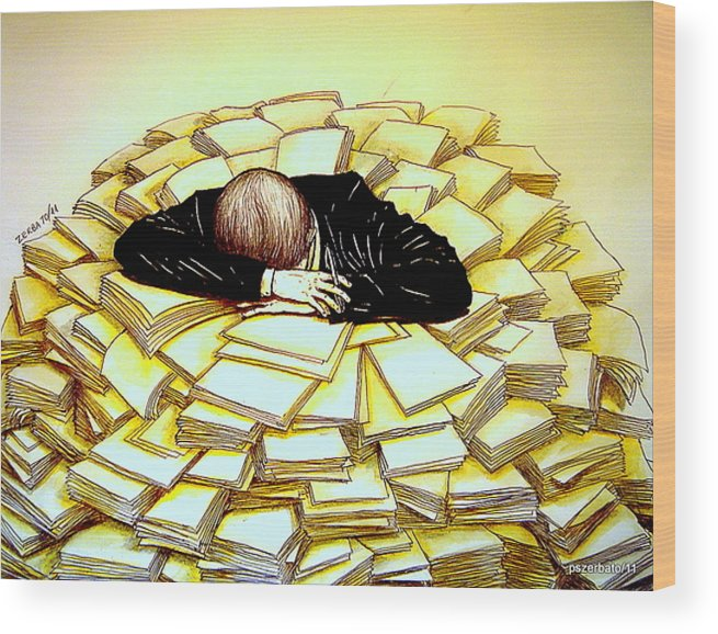 Exhaustive Bureaucracy Wood Print featuring the digital art Exhaustive Bureaucracy by Paulo Zerbato