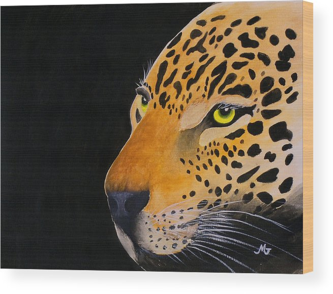 Leopard Wood Print featuring the print Eyes Of Prey by Mary Gaines