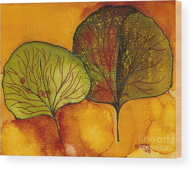 Leaf Wood Print featuring the painting Fall Leaves by Susan Kubes