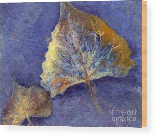 Leaves Wood Print featuring the painting Fanciful Leaves by Chris Neil Smith