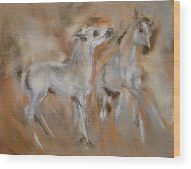 Mustang Wood Print featuring the painting Feels Good To Play by Debbie Anderson