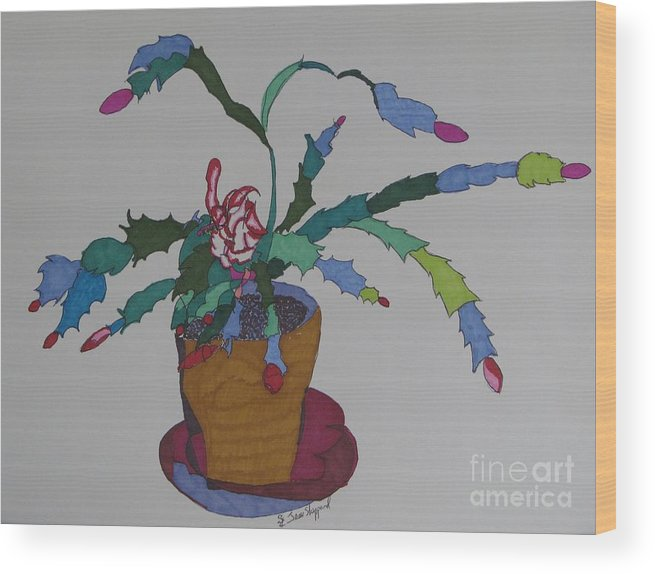 Abstract Christmas Cactus Wood Print featuring the mixed media First Bloom Christmas Cactus by James SheppardIII