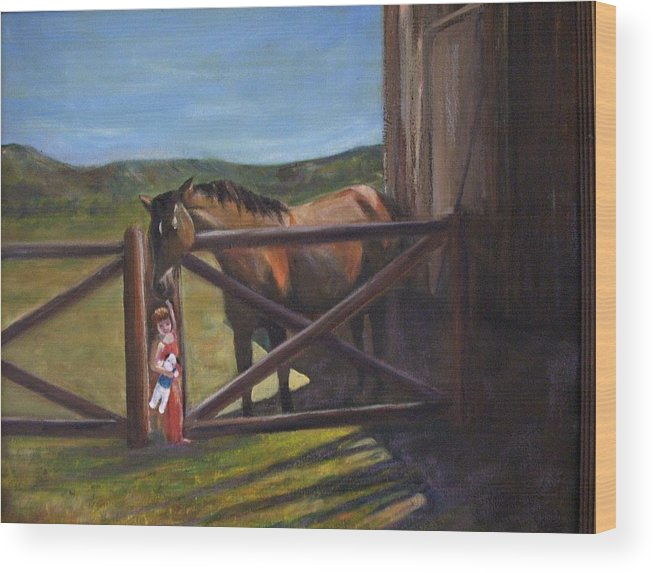Horse Wood Print featuring the painting First Love by Darla Joy Johnson