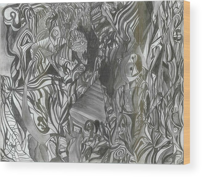 Wood Print featuring the drawing Fist Doodle by Joseph Arico
