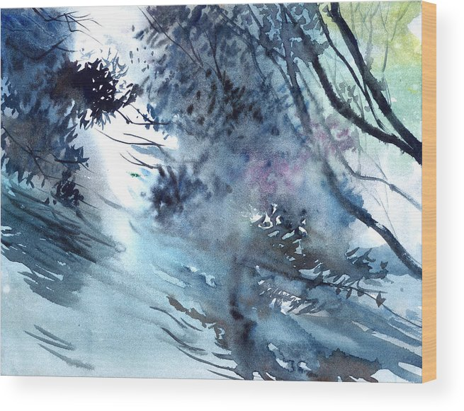 Floods Wood Print featuring the painting Flooding by Anil Nene