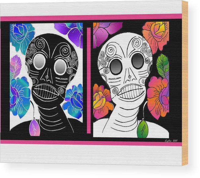 Dia De Los Muertos Wood Print featuring the drawing Flowering Death 2 by Lydia L Kramer