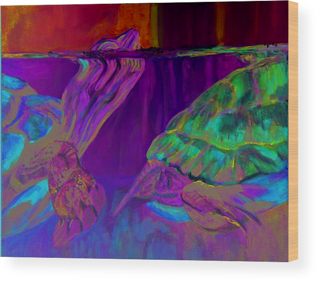Turtles Wood Print featuring the painting Following by Gail Wartell