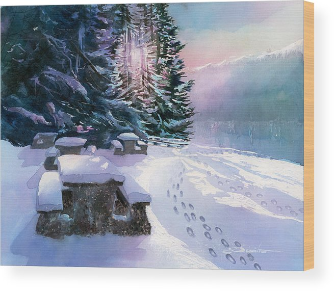 Landscape Wood Print featuring the painting Foot Prints On Snow-port Moody by Dumitru Barliga