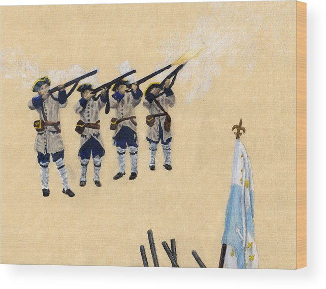 Fort Toulouse Wood Print featuring the drawing Fort Toulouse Soldiers Firing by Beth Parrish