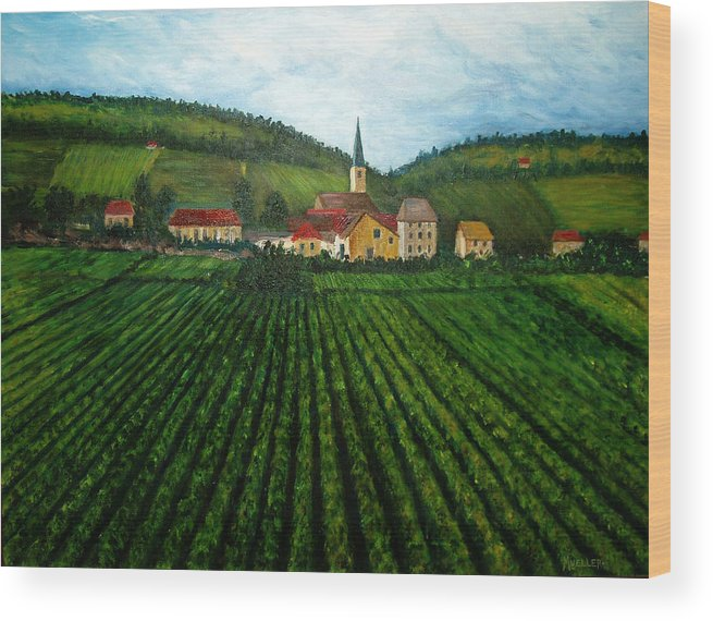 Acrylic Wood Print featuring the painting French Village In The Vineyards by Nancy Mueller