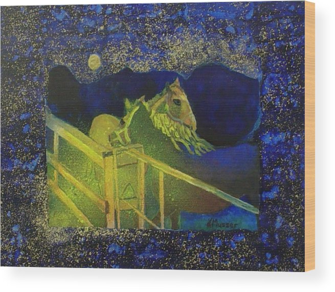 Horses Wood Print featuring the painting Friday Night by Helen Musser