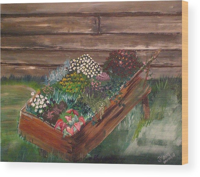 Garden Wood Print featuring the painting Garden Box by Jessica Mason