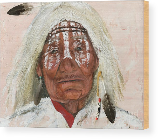 Southwest Art Wood Print featuring the painting Ghost Shaman by J W Baker