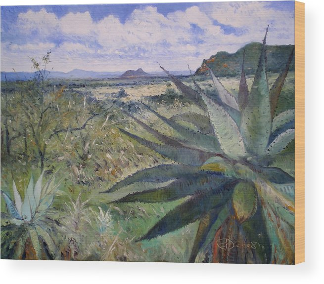 Wood Print featuring the painting Giant Aloes At Pelegano Botswana 2008 by Enver Larney