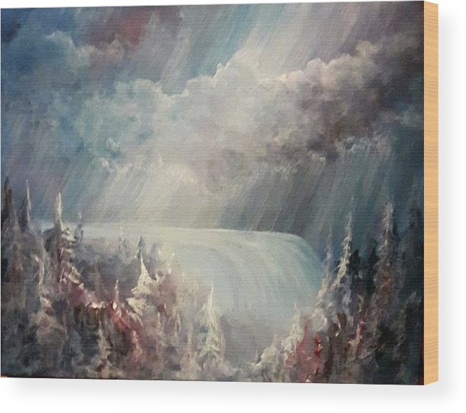 Heaven Wood Print featuring the painting Go With The Flow by Jacquie Potvin Boucher