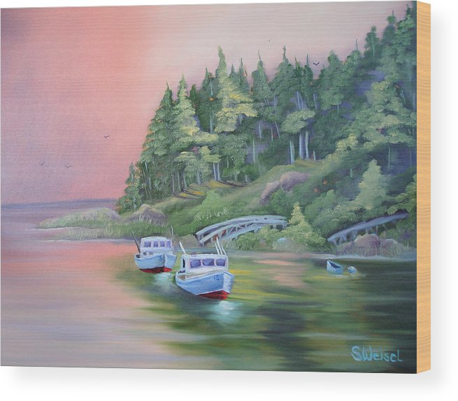 Boat Fish Pond Lake Ocean Sea Tree Bridge Landscape Water Scape Dingy Orange Purple Red Blue Cream Wood Print featuring the painting Goin Fishin by Sherry Winkler