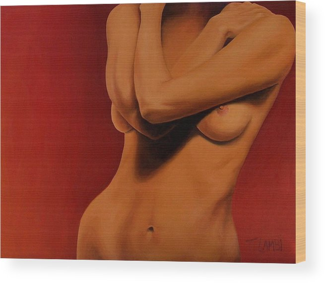 Nude Wood Print featuring the painting Golden Nude by Trisha Lambi