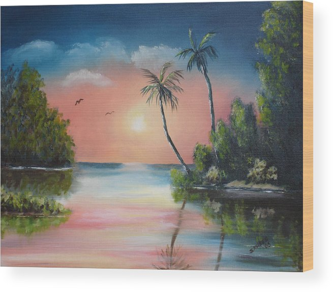 Sunset Wood Print featuring the painting Gulf Coast Sunset by Susan Kubes