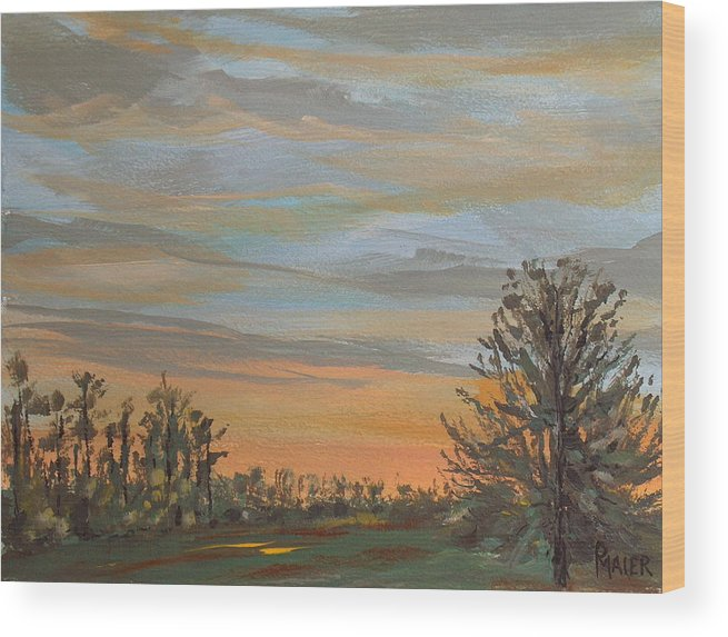 Sunset Wood Print featuring the painting Gwinnetian Sunset by Pete Maier