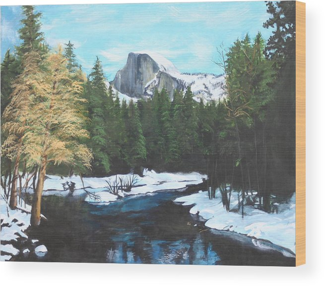 Lkandscape Wood Print featuring the painting Half Dome Snow by Travis Day