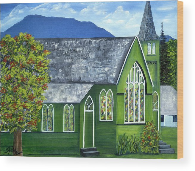 Landscape Wood Print featuring the painting Hanalei Church by SheRok Williams