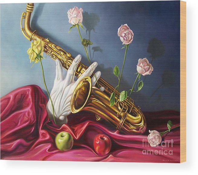 Still Life Wood Print featuring the painting Hand And Sax by Arnold Hurley
