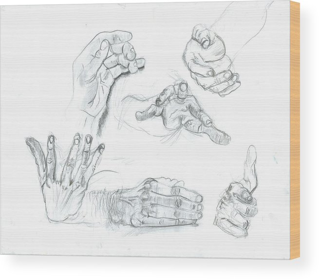 Wood Print featuring the drawing Hands by Joseph Arico