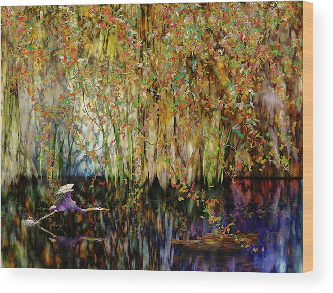 Heron Wood Print featuring the digital art Heron Cove by Gae Helton