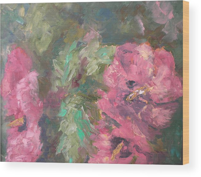 Oil Wood Print featuring the painting Hibiscus by Lou Ewers