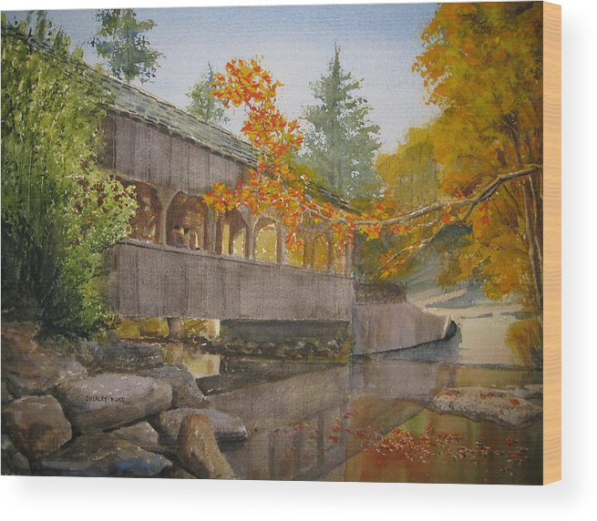 High Falls Wood Print featuring the painting High Falls Bridge by Shirley Braithwaite Hunt