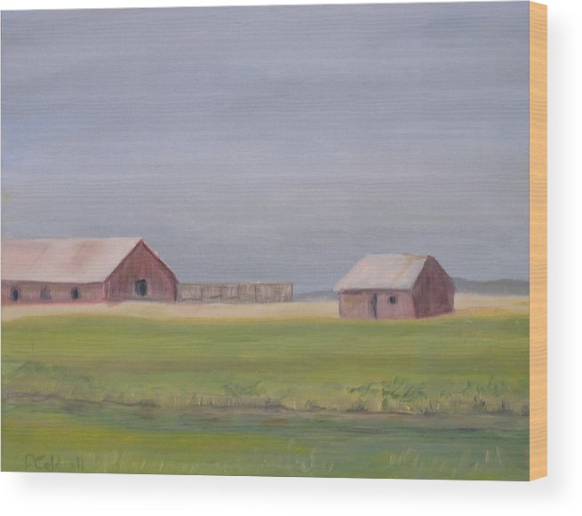 Landscape Plains Barn Wood Print featuring the painting High Plains by Patricia Caldwell