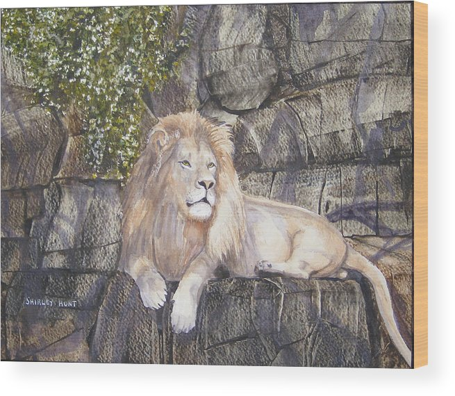 King Wood Print featuring the painting His Majesty by Shirley Braithwaite Hunt