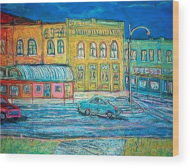 Small Town Wood Print featuring the pastel Historic Downtown Elgin At Twilight by Richalyn Marquez