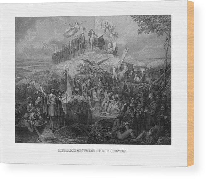 Us Presidents Wood Print featuring the drawing Historical Monument Of Our Country by War Is Hell Store