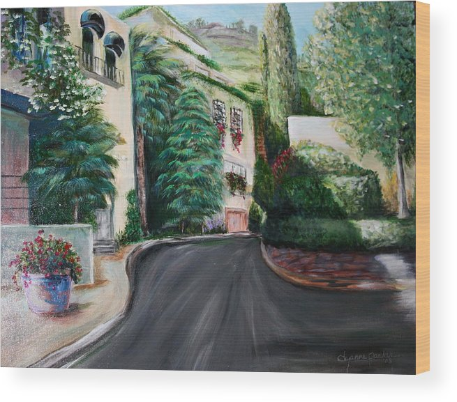 Landscape Wood Print featuring the painting Hollywood Hills by Dyanne Parker