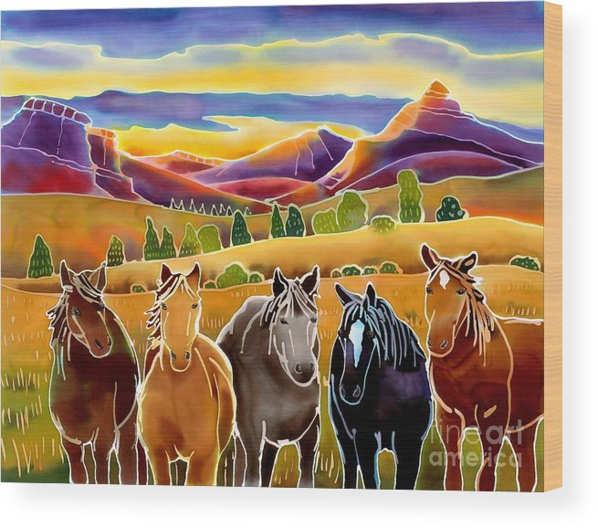 Horses Wood Print featuring the painting Horses At First Light by Harriet Peck Taylor