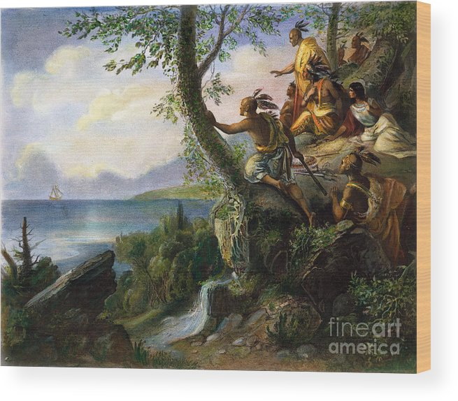 1609 Wood Print featuring the painting Hudson: New York, 1609 by Granger